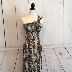 Cache Animal Print One Shoulder Long Maxi Dress